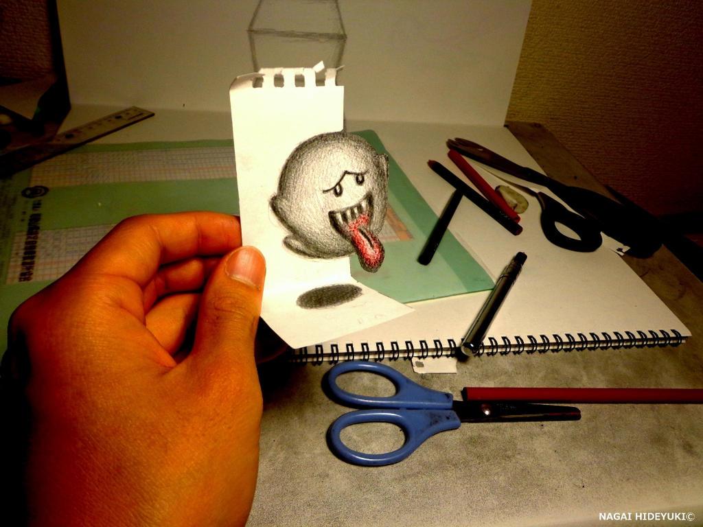 3D Drawing - Teresa [Super Mario] by NAGAIHIDEYUKI
