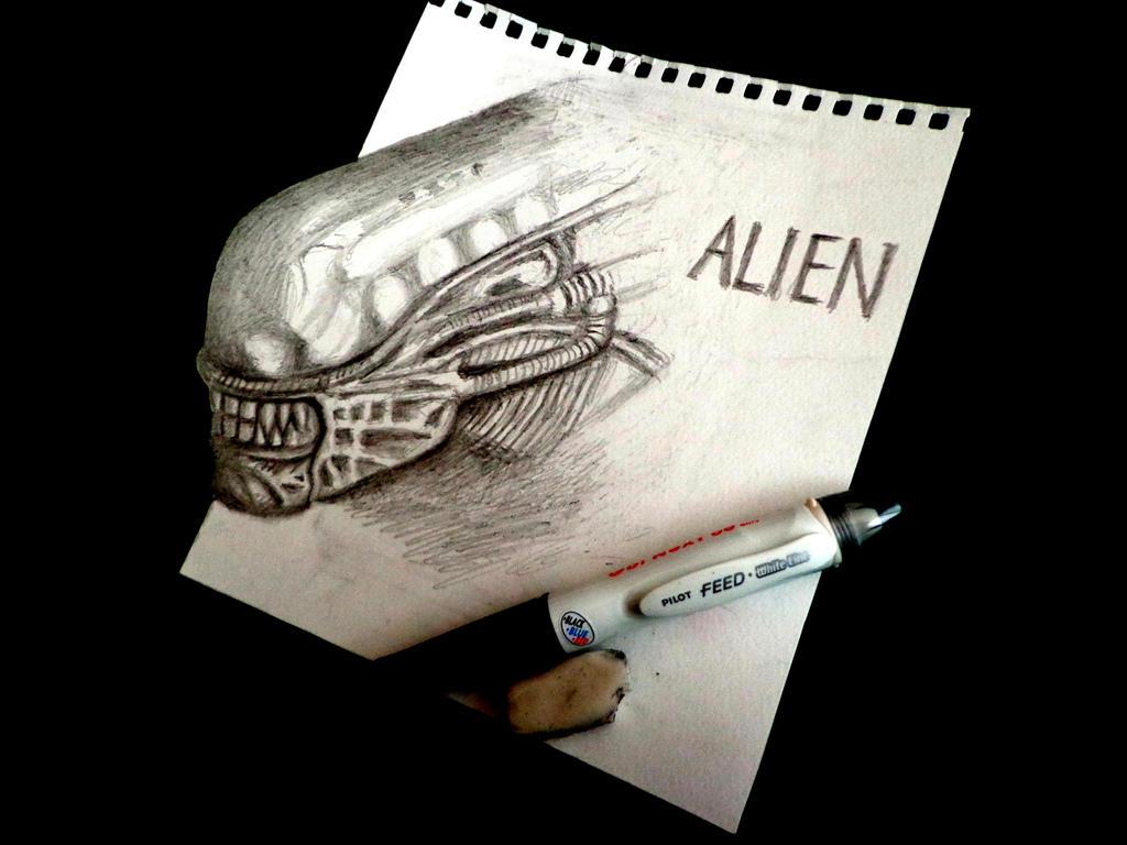 3D Drawing - ALIEN [ H.R.Giger Tribute ]