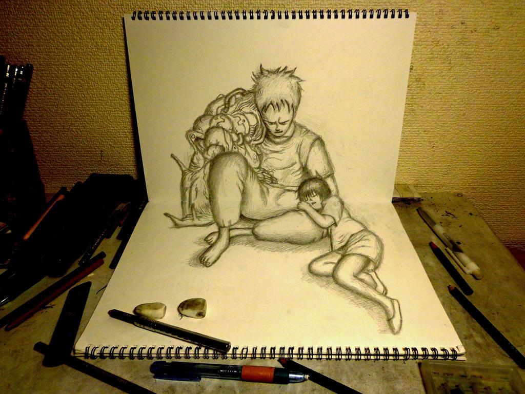 3D Drawing - Tetsuo and Kaori [AKIRA] by NAGAIHIDEYUKI