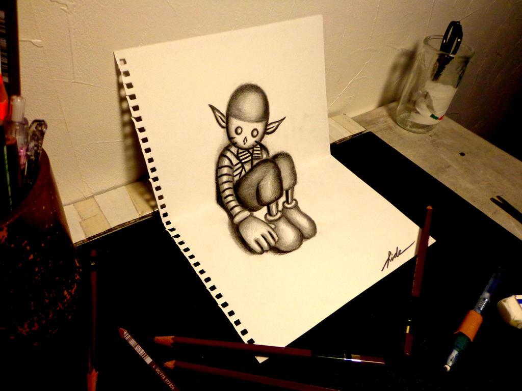 3D Drawing - Lost child by NAGAIHIDEYUKI