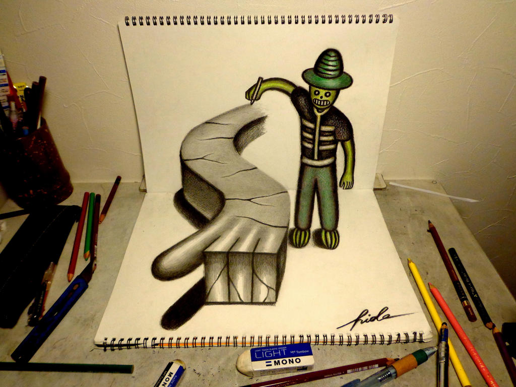 3D Drawing - Painter of mystery by NAGAIHIDEYUKI