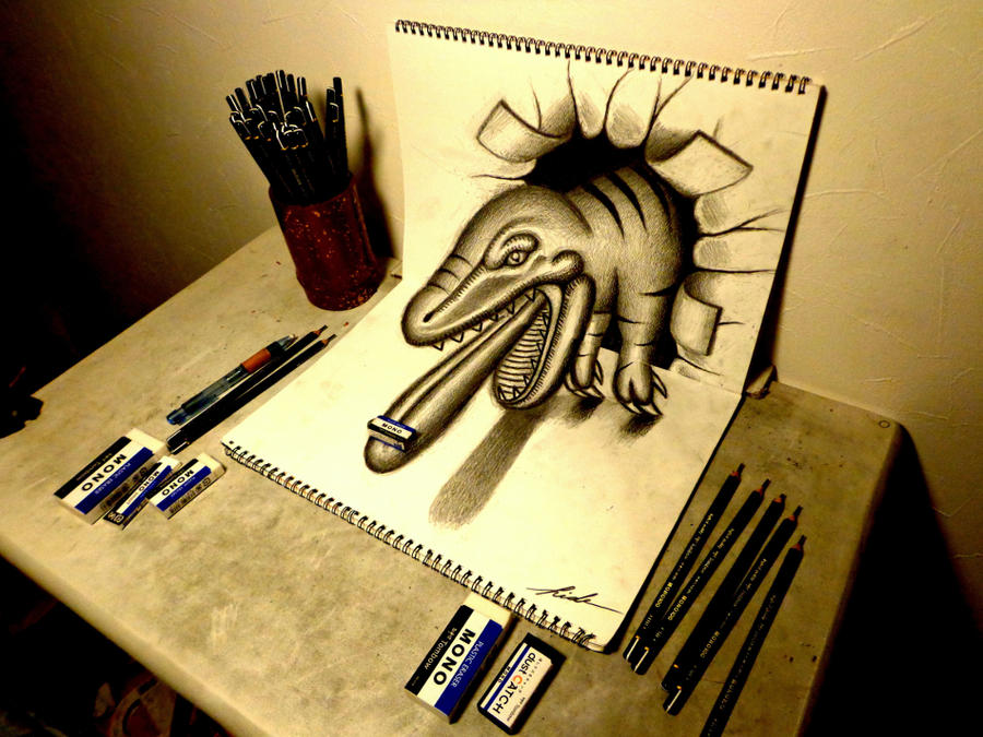 3D Drawing - Tyrannosaurus rex by NAGAIHIDEYUKI