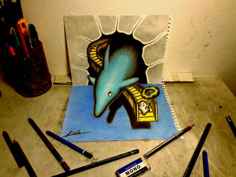 3D Drawing - Dolphin by NAGAIHIDEYUKI