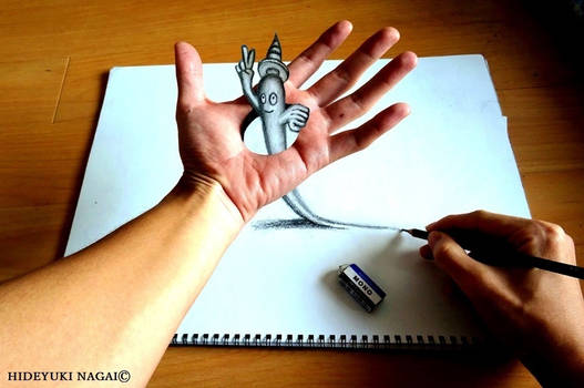3D ART-Ghost passing through the palm of the hand