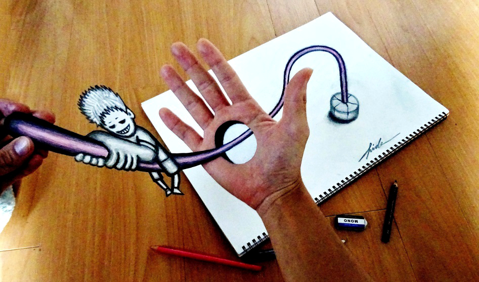 3D ART - Climbing bar passing through the hand by NAGAIHIDEYUKI