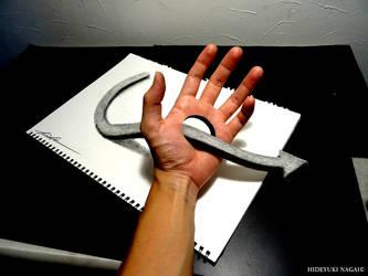 Arrow through the palm of your hand - Trick Art by NAGAIHIDEYUKI