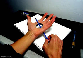 Pencil penetrating the hand