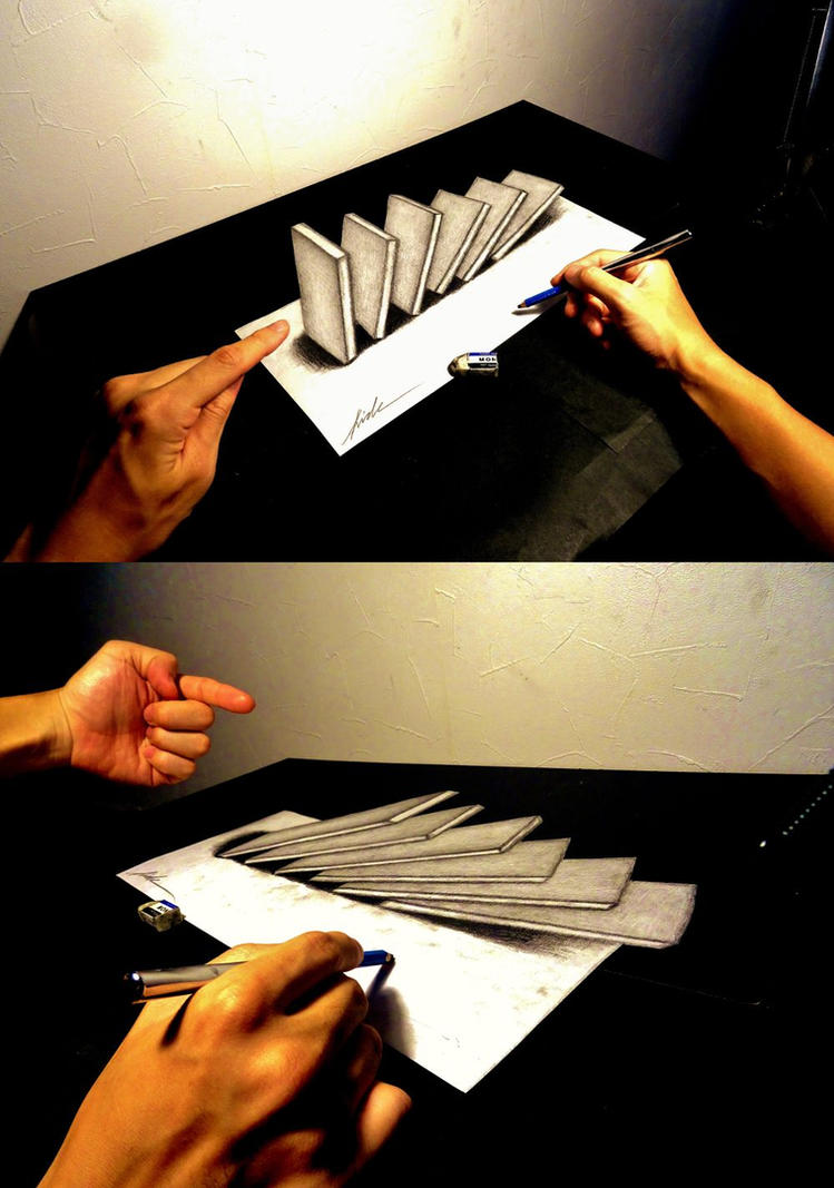 Domino toppling - 3D Drawing by NAGAIHIDEYUKI