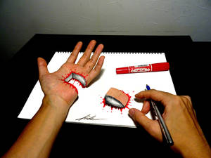 Cut hand - 3D Drawing
