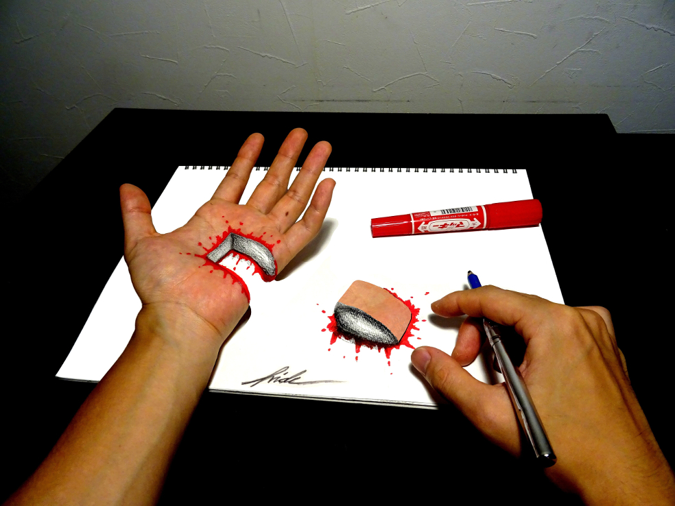 Cut hand - 3D Drawing by NAGAIHIDEYUKI