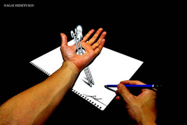 3D Drawing - Ladder penetrating the hand