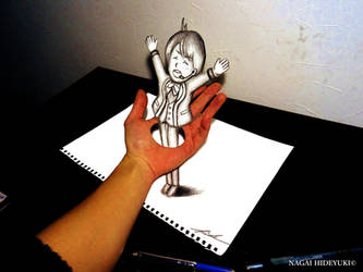 3D Drawing - Boy penetrating hands