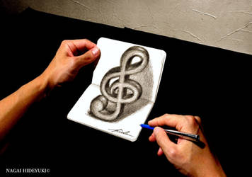 3D Drawing - Treble clef popping out of notepad