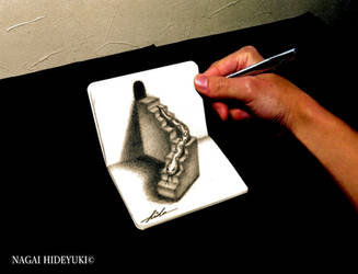 3D Drawing - Snake popping out of notepad