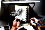 3D Drawing - Hands popping out of notepad