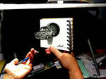 3D Drawing - Car jumping out from Notepad