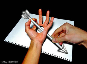 3D Drawing - Arrow penetrating the hand