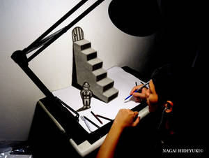 3D Drawing - Stairs popping out of the wall