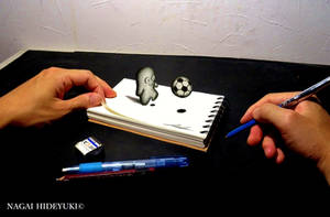 3D Drawing - Soccer ball popping out