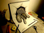 3D Drawing - Turtle jumping out of the sketchbook
