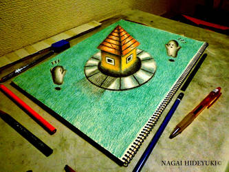 3D Drawing - Colorful building that pops out by Nagai-Hideyuki