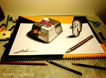 3D Drawing - Chocolate popping out of paper by Nagai-Hideyuki