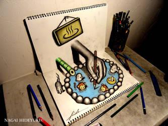 3D Drawing - Hot springs that pop out by Nagai-Hideyuki
