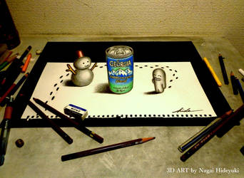 3D Drawing - Canned coffee popping out by Nagai-Hideyuki