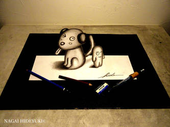 3D Drawing - Dogs and monsters popping out by Nagai-Hideyuki