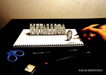 3D Drawing - Metallica logo popping out by Nagai-Hideyuki