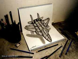 3D Drawing - Fighter aircraft jumping out of paper by Nagai-Hideyuki
