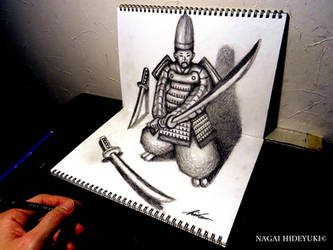 3D Drawing - Samurai popping out of paper by Nagai-Hideyuki