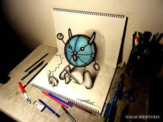 3D Drawing - Japanese character popping out by Nagai-Hideyuki