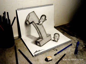 3D Drawing - Number 1 popping out of paper by Nagai-Hideyuki