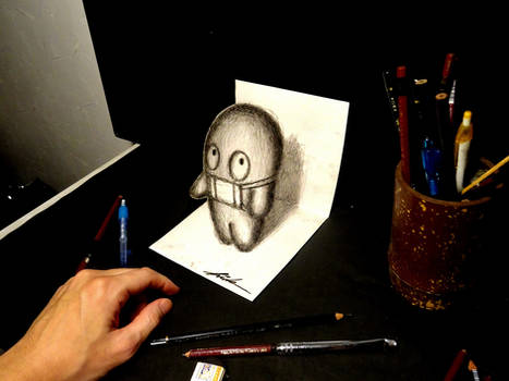 3D Drawing - Mask popping out of paper