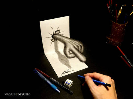 3D Drawing - Hands that pop out