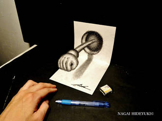 3D Drawing - Punch popping out of paper