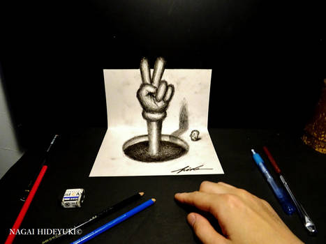 3D Drawing - Peace sign popping out of paper
