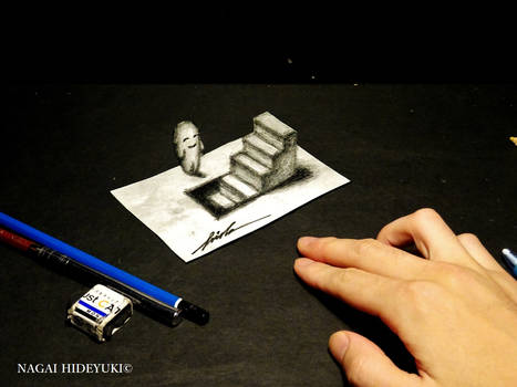 3D Drawing - Stairs popping out of paper