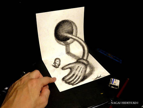 3D Drawing - Hands popping out of the hole