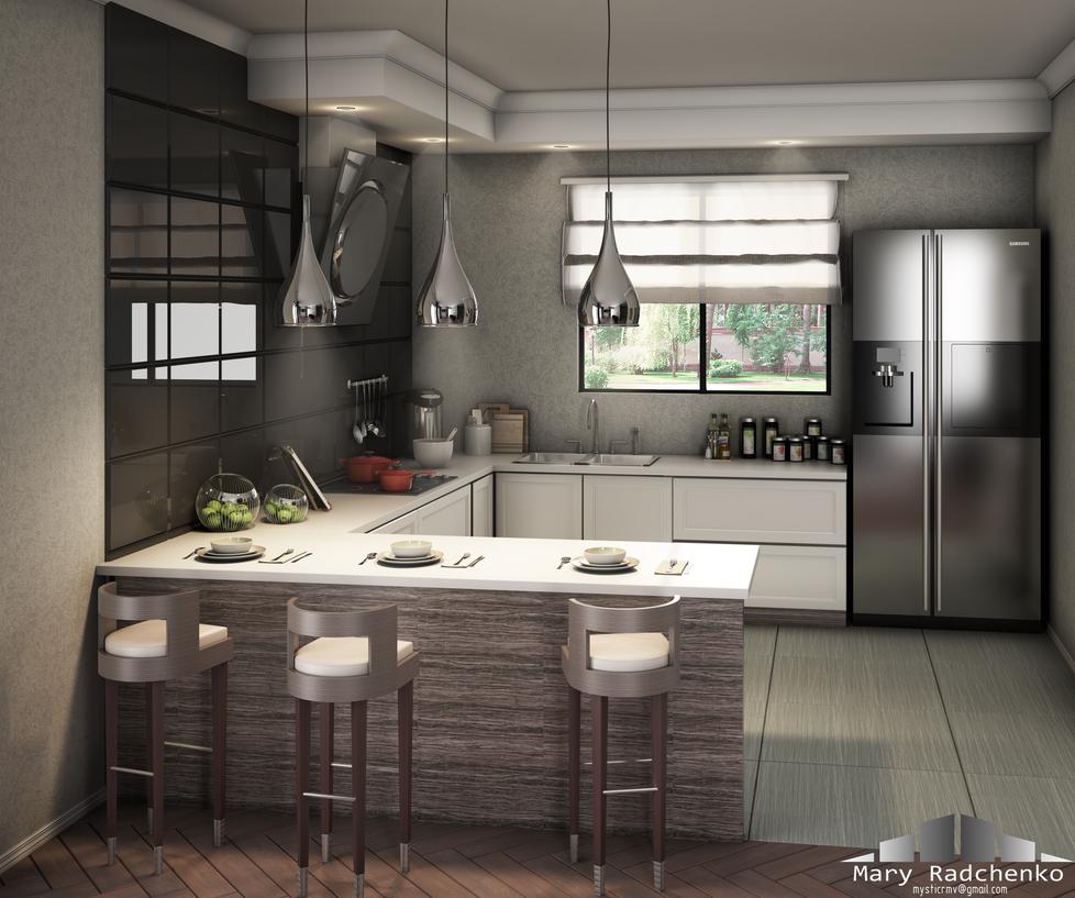 Kitchen interior by MysticMar