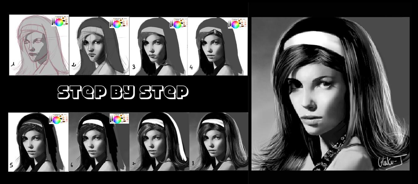 Portrait 4 (step by step) by Otaku-J