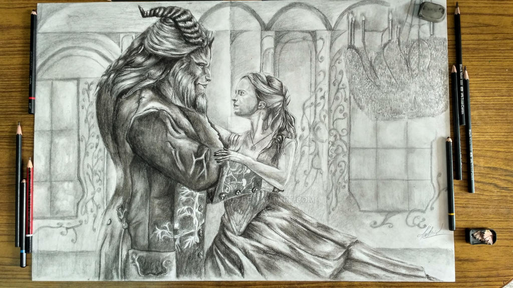 how to draw beauty and the beast 2017