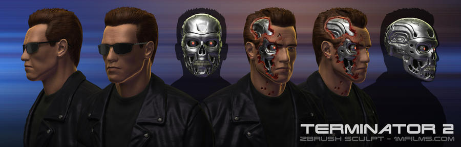Terminator 2 Arnold bust views by 1MFilms