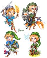 Link Chibis by ElvenhamIllustration