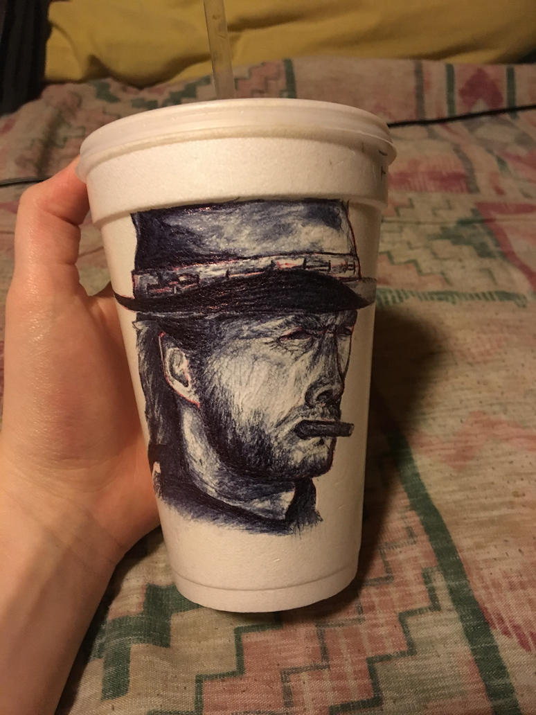 Clint Eastwood...on styrofoam cup by PippinWorthington3rd