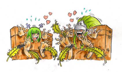 Green hair tickled