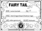 My Fairy Tail Member Card