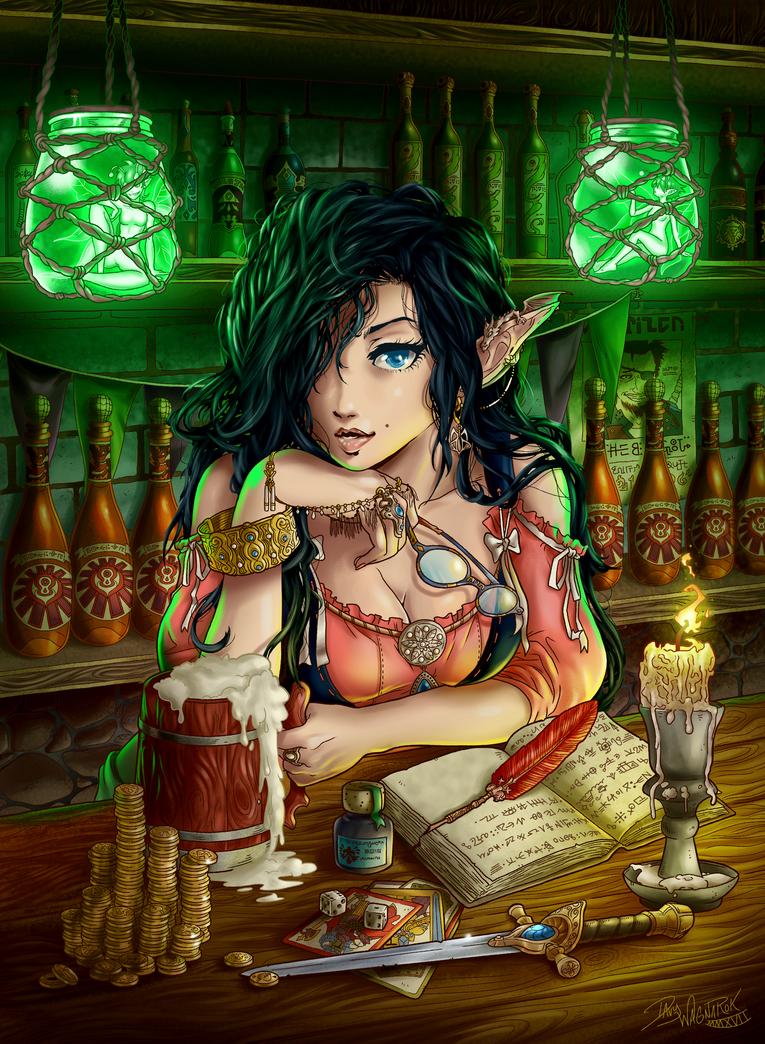 Elfin Barkeeper by DavyWagnarok