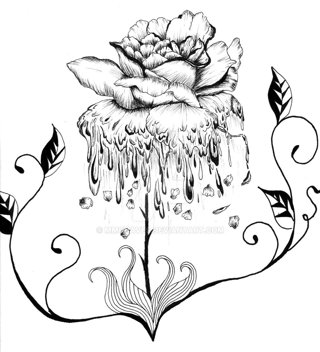 Traditional Rose Line Drawing